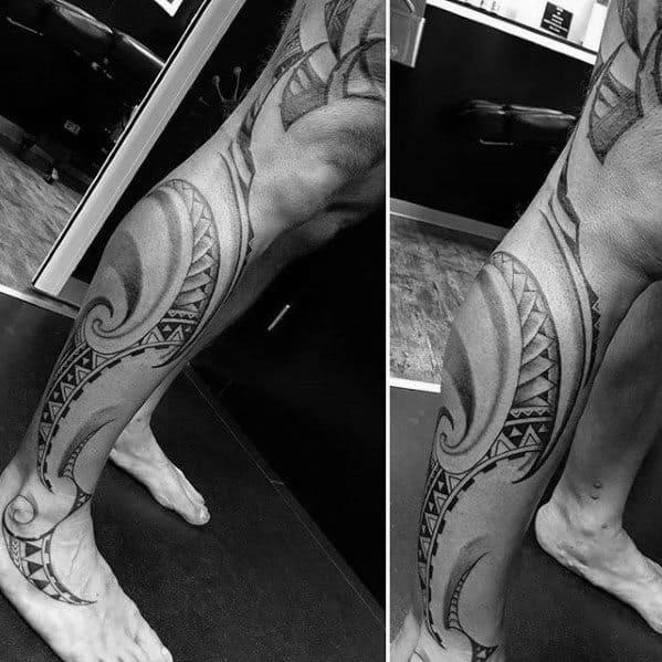 Polynesian Mens Full Leg Tribal Tattoos