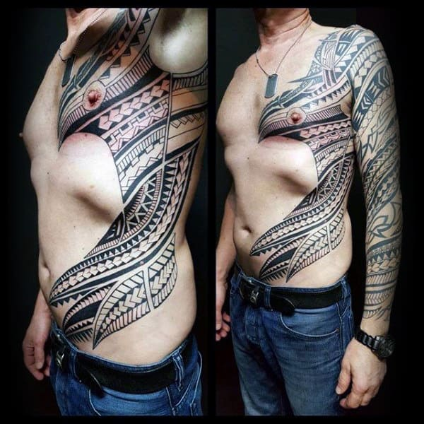 Polynesian Mens Tribal Rib Cage Side Tattoos