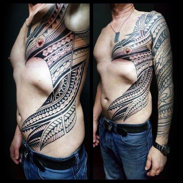 Polynesian Mens Tribal Rib Cage Side Tattoos