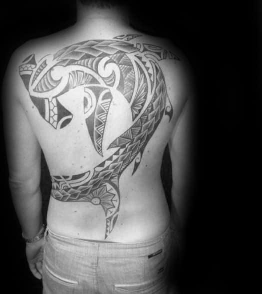 Polynesian Shark Tattoo Design On Mans Back