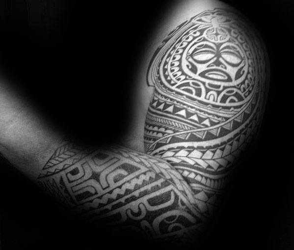Polynesian Sun Guys Pattern Full Sleeve Tattoo Ideas