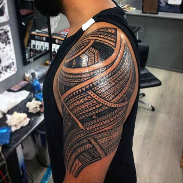Polynesian Traditional Mens Tribal Tattoo Half Sleeve Design