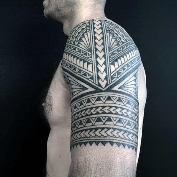 Polynesian Tribal Arm Half Sleeve Tattoo Designs On Guys