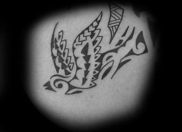 Polynesian Tribal Bird Sparrow Mens Back Tattoo Ideas