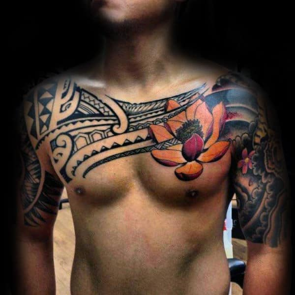 Polynesian Tribal Lotus Flower Mens Chest Tattoos