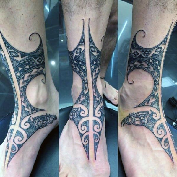 Polynesian Tribal Mens Ankle Tattoo