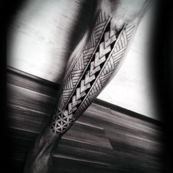 Polynesian Tribal Shin Tatoos For Men