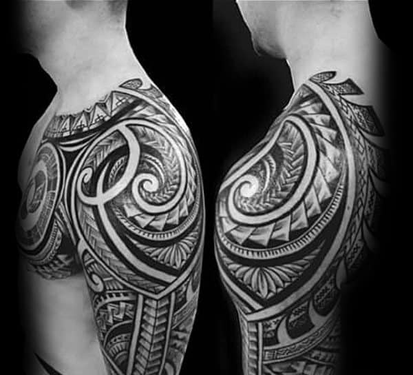 Polynesian Tribal Shoulder Tattoo Art Ideas For Guys