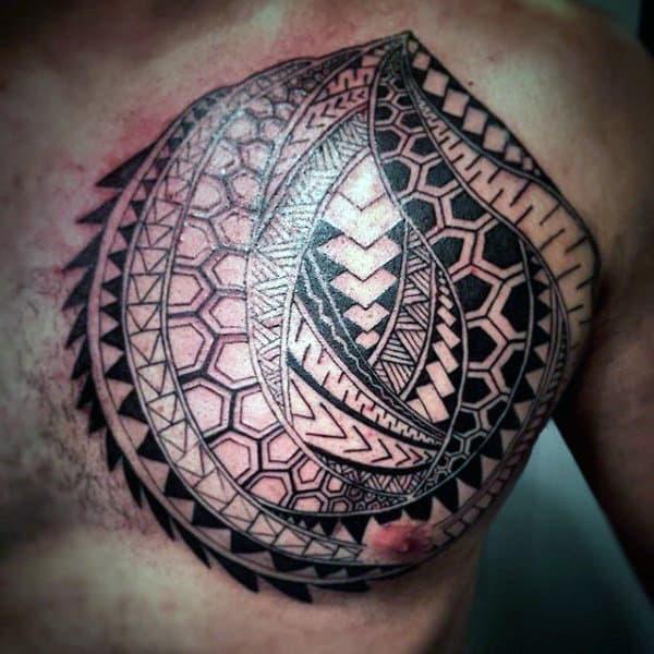 Polynesian Tribal Tattoo On Chest