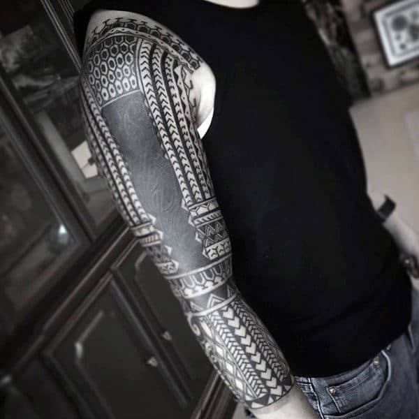 Polynesian Tribal Tattoo Sleeve For Men