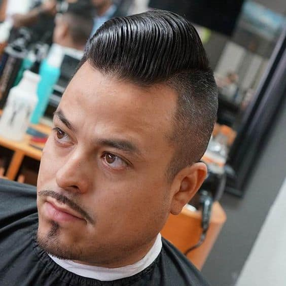 Pomadour Fade Haircut with Mustache