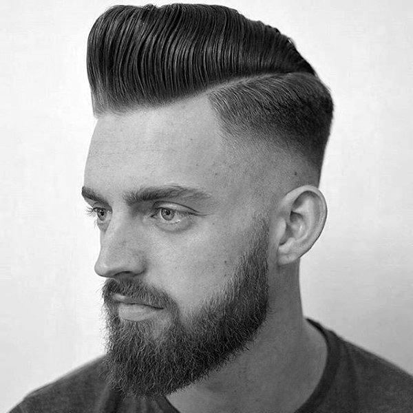 Pompadour With Skin Fade Haircut For Guys