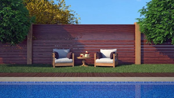 Pool Fence Backyard Design Wood Slat Boards