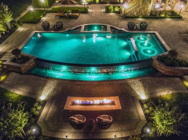 Pool Lighitng With Gas Fireplace Cool Backyard Ideas