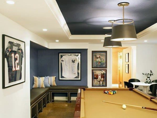Pool Lounge Basement Man Cave Designs For Men