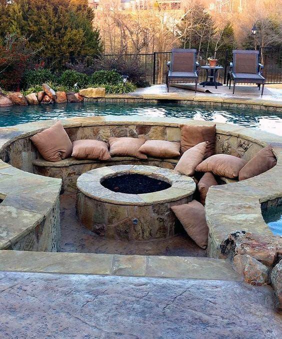 Pool Outdoor Circular Fire Pit Design Ideas