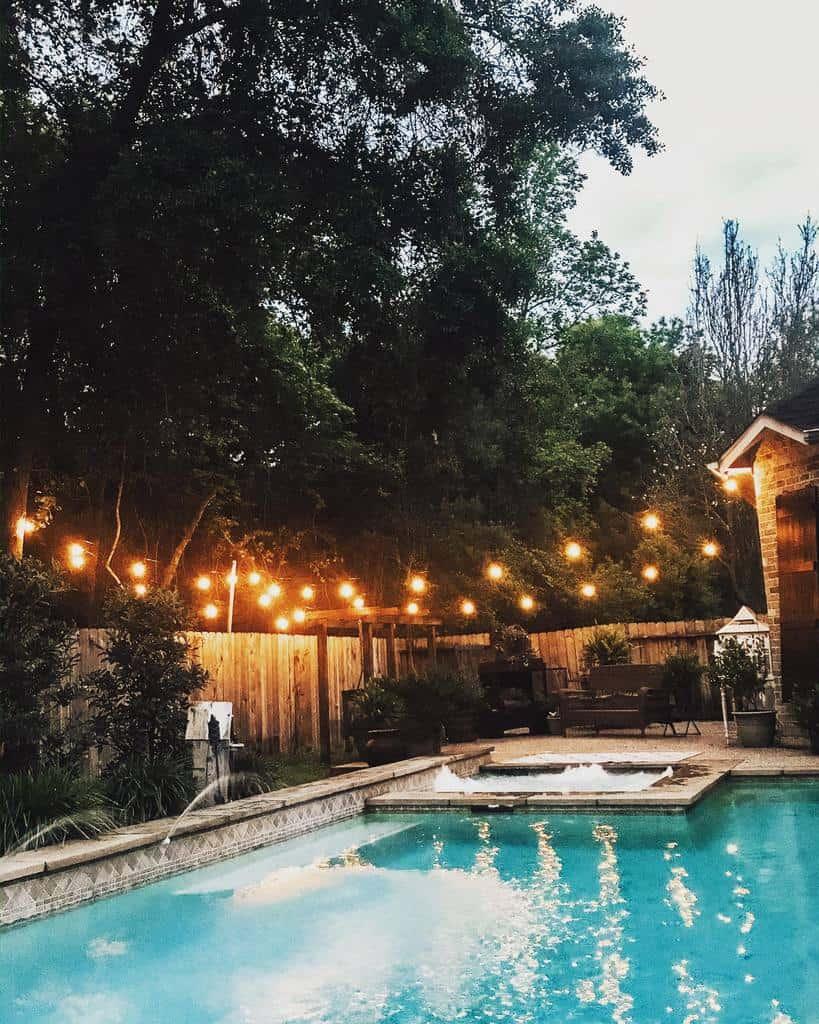 pool patio lighting ideas woodstreamcottage