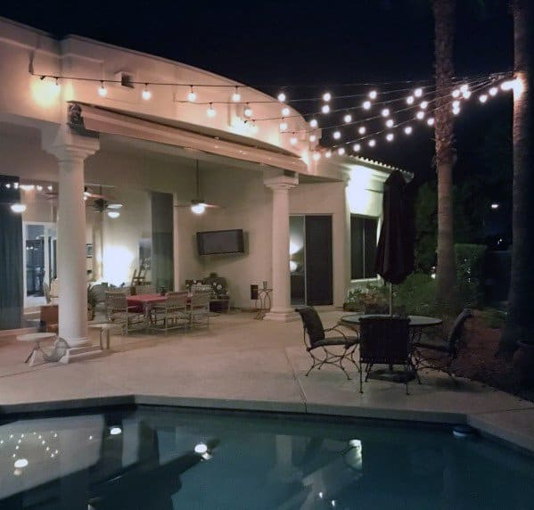 Pool Patio String Light Design Idea Inspiration