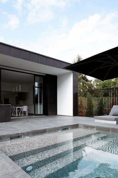 Pool Small Mosaic Tiles Black And Grey Designs
