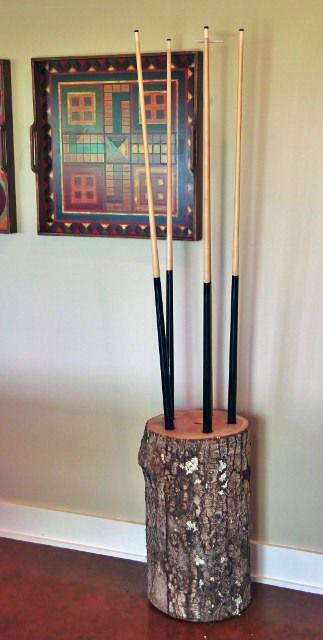 Pool Stick Holder Log Stump Cheap Man Cave Ideas