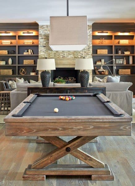 Pool Table And Bookcase Basement Lighting Ideas