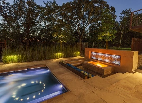 Pool With Gas Fire Pit Cool Backyard Ideas