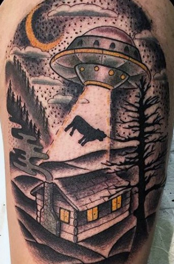 Poor Dark Cow Pulled Into Ufo Tattoo Mens Arms
