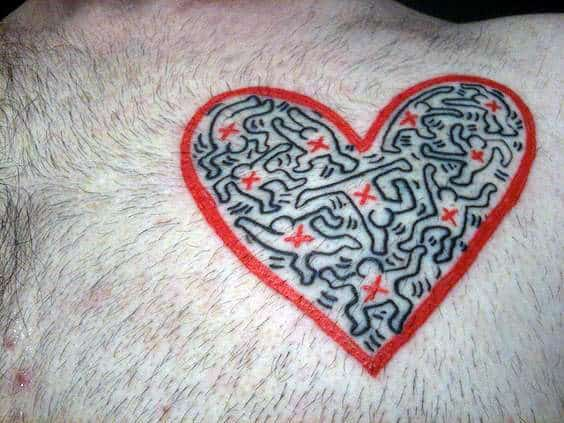 Pop Art Heart Mens Chest Tattoos