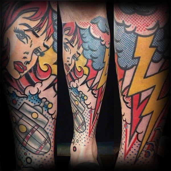 Pop Art Mens Leg Sleeve Tattoos