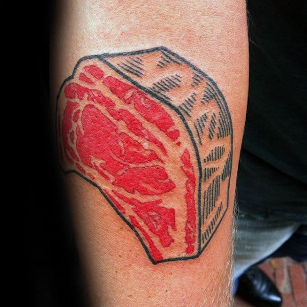 Pop Art Steak Meat Mens Arm Tattoo