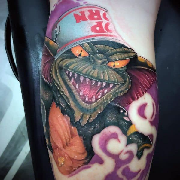 Popcorn Bowl Gremlin Tattoo Designs On Men
