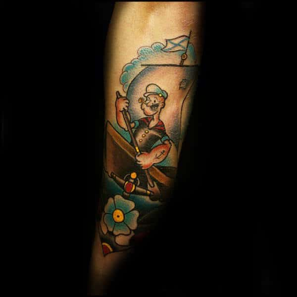 Popeye In Row Boat Male Forearm Tattoo For Guys