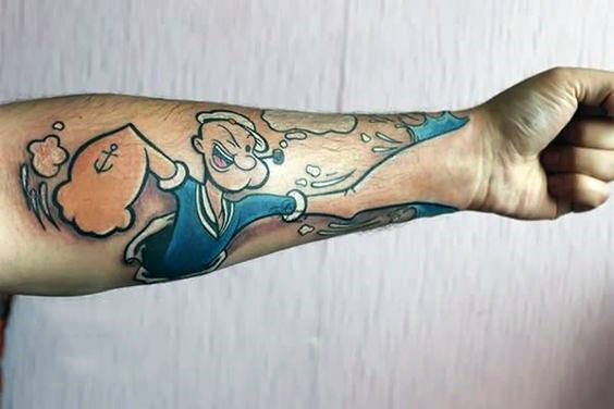 Popeye Punching Hand Mens Optical Illusion Forearm Tattoo Design