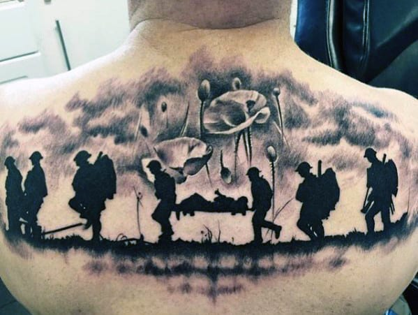 Poppy Flower Fallen Soldier Mens Memorial Upper Back Tattoo