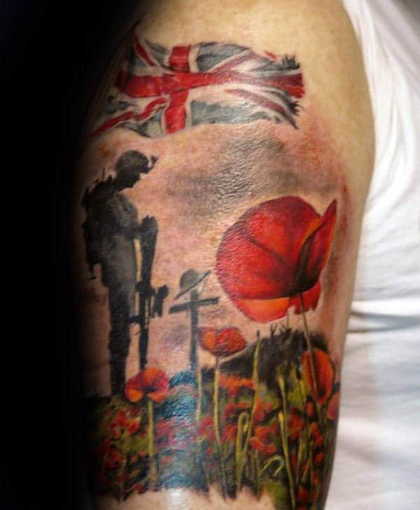 Poppy Flower Soilder Memorial Upper Arm Tattoos For Males