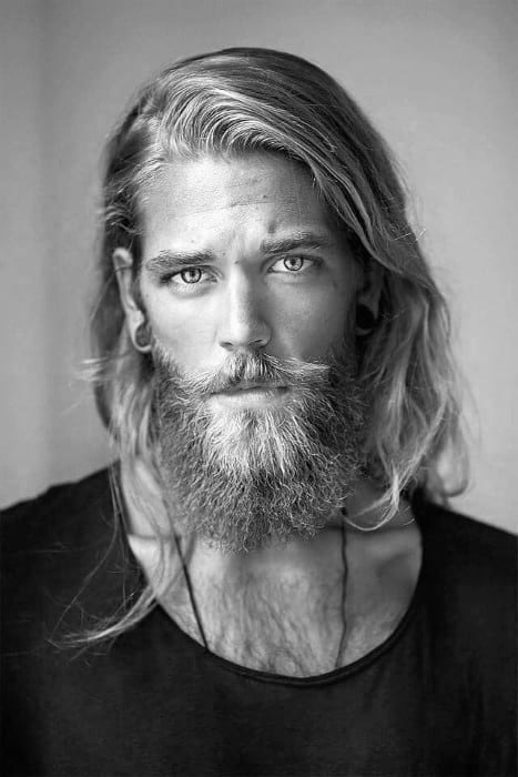 Popular Mens Long Surfer Hair With Beard
