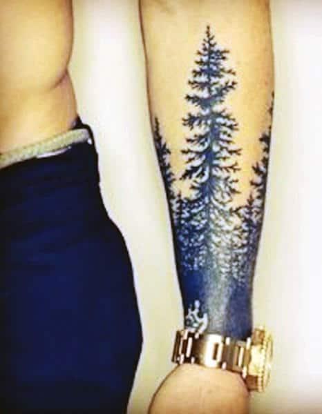 Popular Men's Pine Tree Tattoo On The Wrist