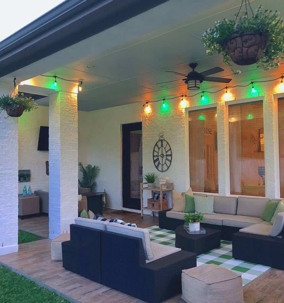 porch patio lighting ideas harknesshomestylist