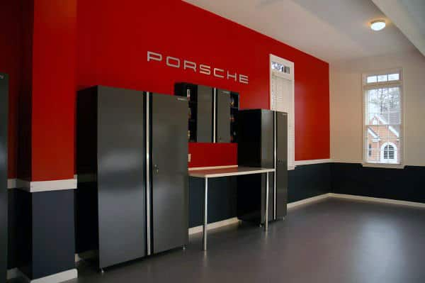 Porsche Themed Red And Black Paint For Garage Walls