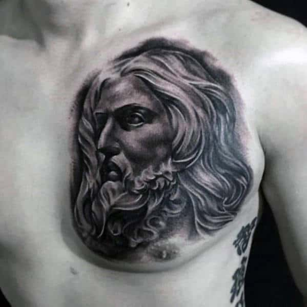 Portait Of Shaded Jesus Christ Male Upper Chest Tattoos