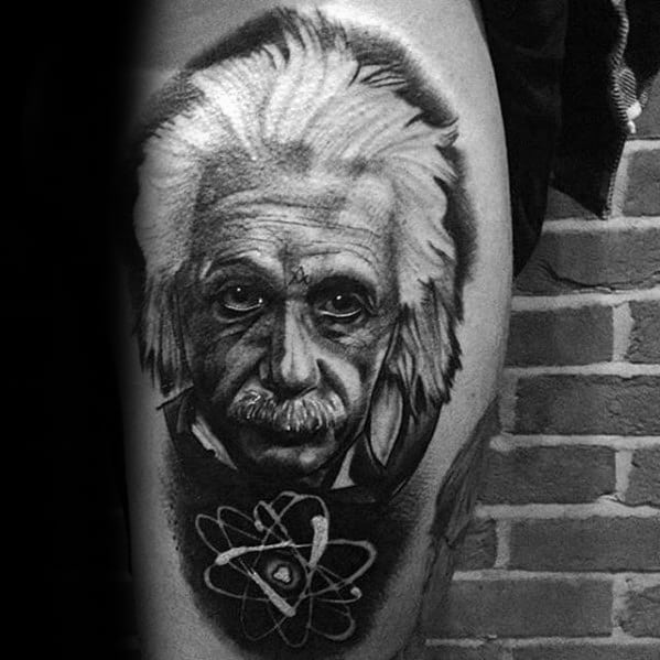 Portrait Albert Einstein Guys Tattoos On Side Of Thigh