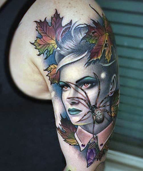 Portrait And Spider Leaves Tattoo Mens Designs