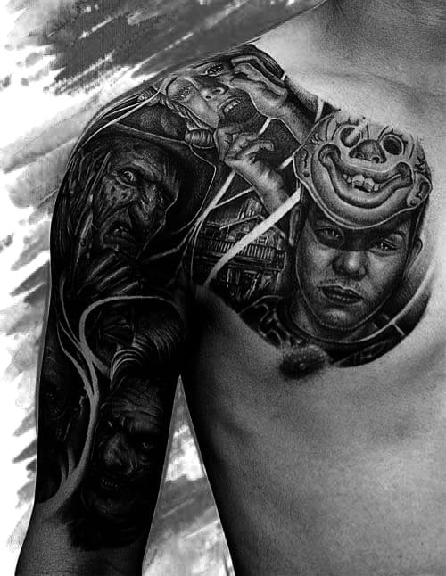 Portrait Arm Tattoos For Men Half Sleeves