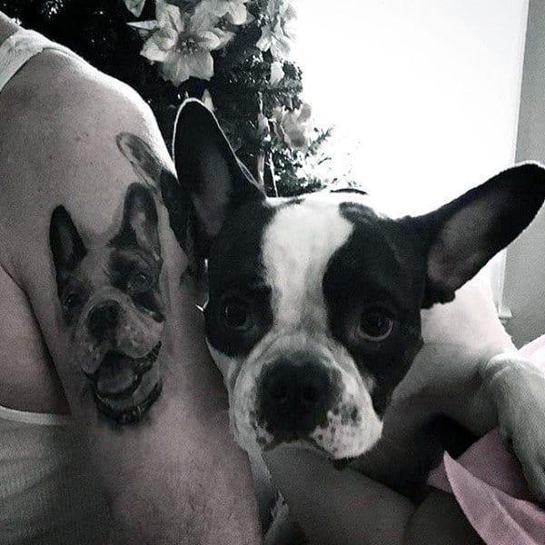 Portrait Dog Tattoo For Men On Upper Arm Bulldog