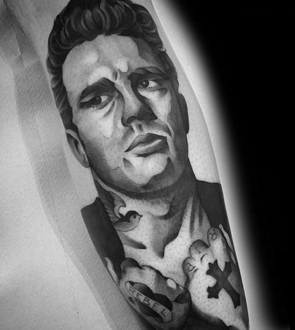 Portrait James Dean Guys Tattoo Designs