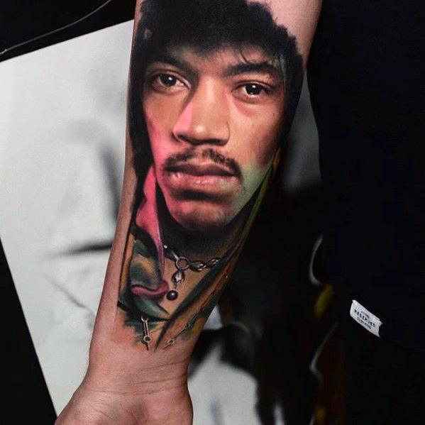 Portrait Jimi Hendrix Inner Forearm Tattoo Ideas For Gentlemen