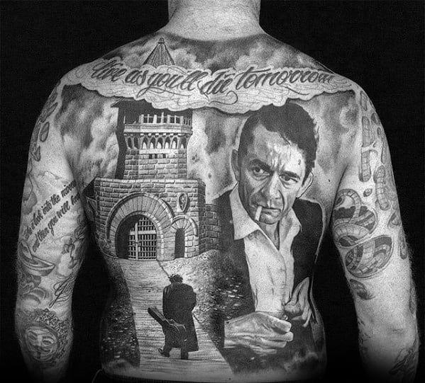 Portrait Johnny Cash Themed Tattoo Ideas For Males Full Back
