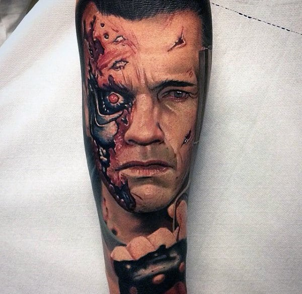 Portrait Mens Terminator Sleeve Tattoos
