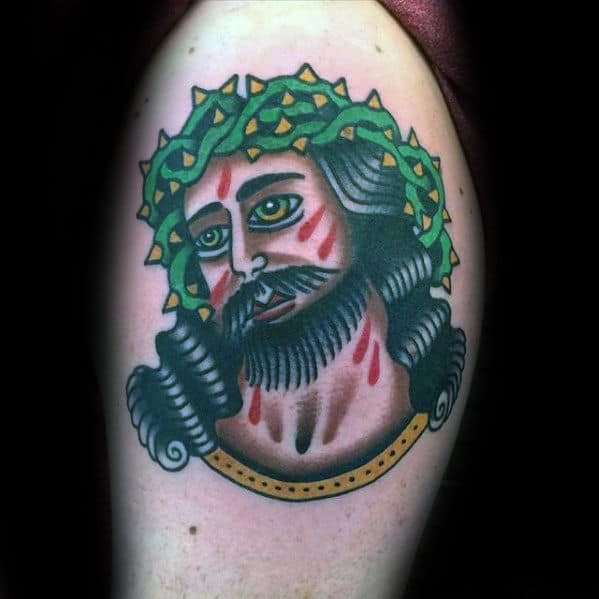 Portrait Of Jesus Guys Traditional Upper Arm Tattoo Designs