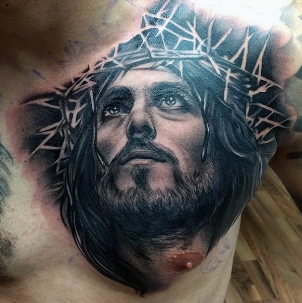 Portrait Of Jesus Mens Religious Upper Chest Tattoo Ideas